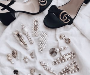earrings, gucci, and hair clips image
