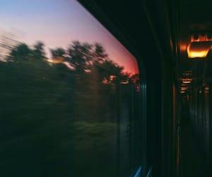 train, travel, and sunset image