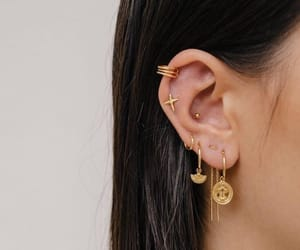 earings, gold, and jewelry image
