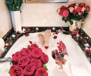 bath, flower, and bathroom image