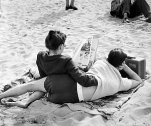 couple, beach, and vintage image