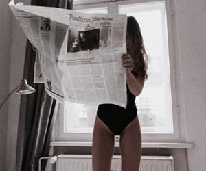 girl, newspaper, and aesthetic image