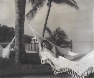 beach, hammock, and black and white image