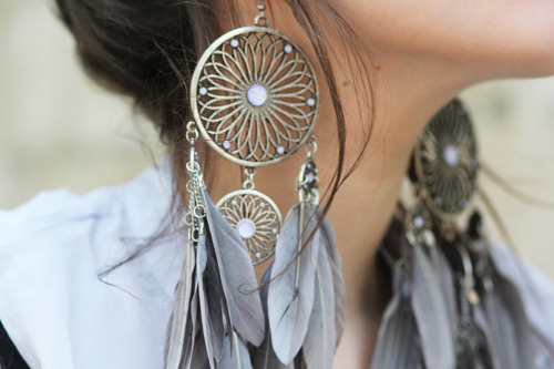 earrings, hippie, and fashion image