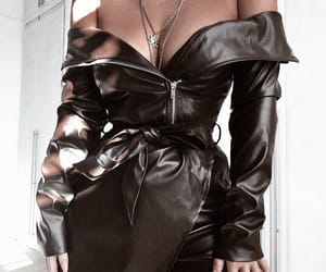 dress, fashion, and leather image