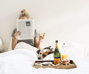 bed, breakfast, and reading image