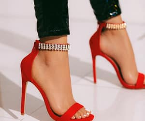 heels, red shoes, and shoes image