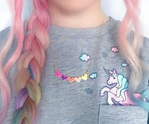 hair, unicorn, and colors image