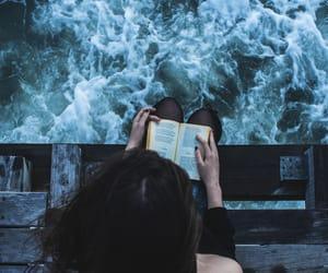 book, girl, and sea image