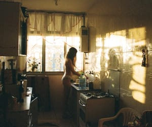 girl, kitchen, and sun image