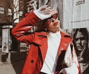 red coat, business outfit, and work fashion image