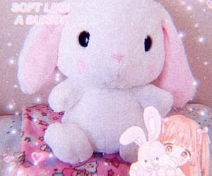 bunny, stuffie, and hearts image