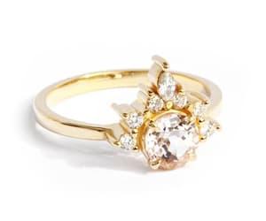 etsy, diamond heart ring, and morganite ring image