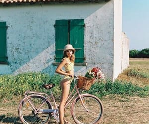 bicycle, girls, and nature image