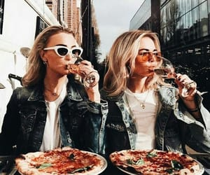 girl, pizza, and friends image