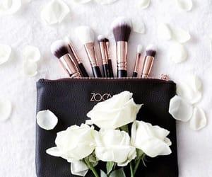 makeup, white, and makeup brushes image