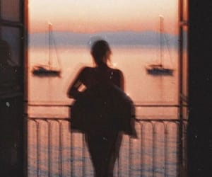 sunset, girl, and vintage image