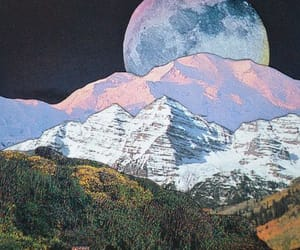 art, mountains, and moon image