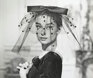 audrey hepburn, black and white, and love in the afternoon image