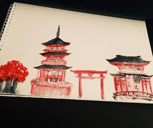 art, drawing, and red image
