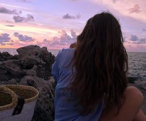 girl, beach, and sky image