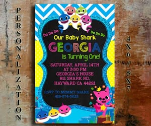birthday party, first birthday, and baby shark invite image