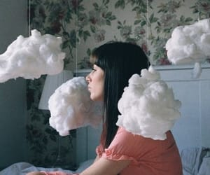 girl, clouds, and vintage image