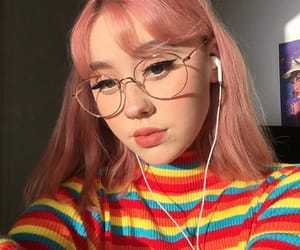 glasses, rainbow, and hair image