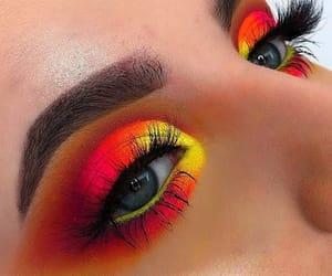 eyelashes, eyeshadow, and yellow image