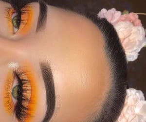 makeup, eyes, and yellow image