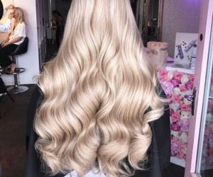 hair, blonde, and waves image