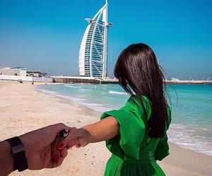 Dubai, couple, and beach image