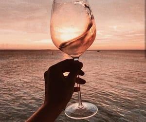 wine, beach, and ocean image