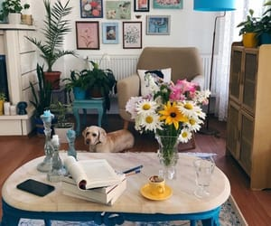 decorating, puppy, and flowers image
