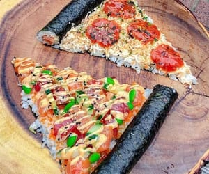 sushi, food, and pizza image