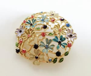 enamel, floral brooch pin, and open work brooch image