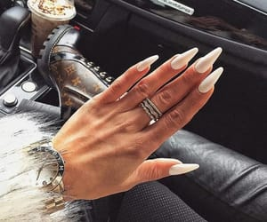 manicure, white, and longnails image