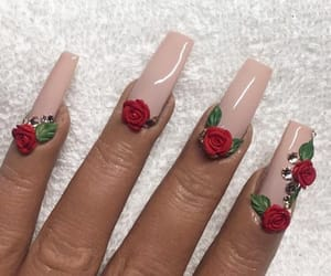 acrylic, beige, and nails image