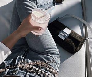 bag, denim, and drinks image