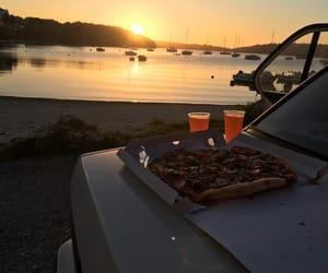 beach, boat, and car image