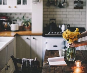 home, kitchen, and flowers image