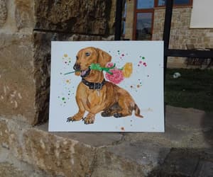 dog, dog lovers gift, and watercolor image