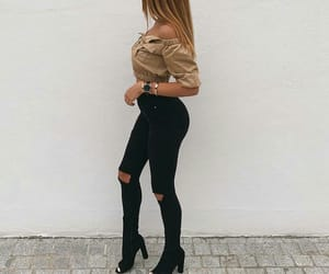 black jeans, fashion, and girl image