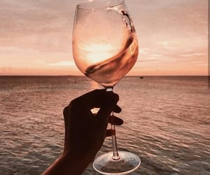 wine, ocean, and sunset image