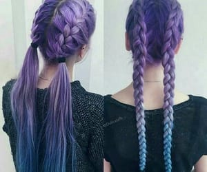 hair, blue, and braids image