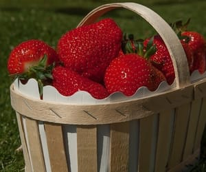 basket, strawberries, and cottagecore image