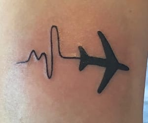 heartbeat, plane, and tattoo image