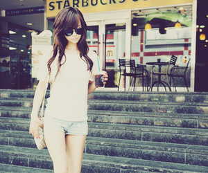 girl, fashion, and starbucks image