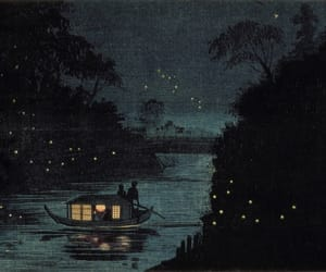 art, fireflies, and night image