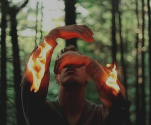 boy, fire, and photo image